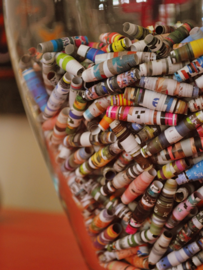 Things i love bits of paper home sweet homemade for Handicraft made by waste material