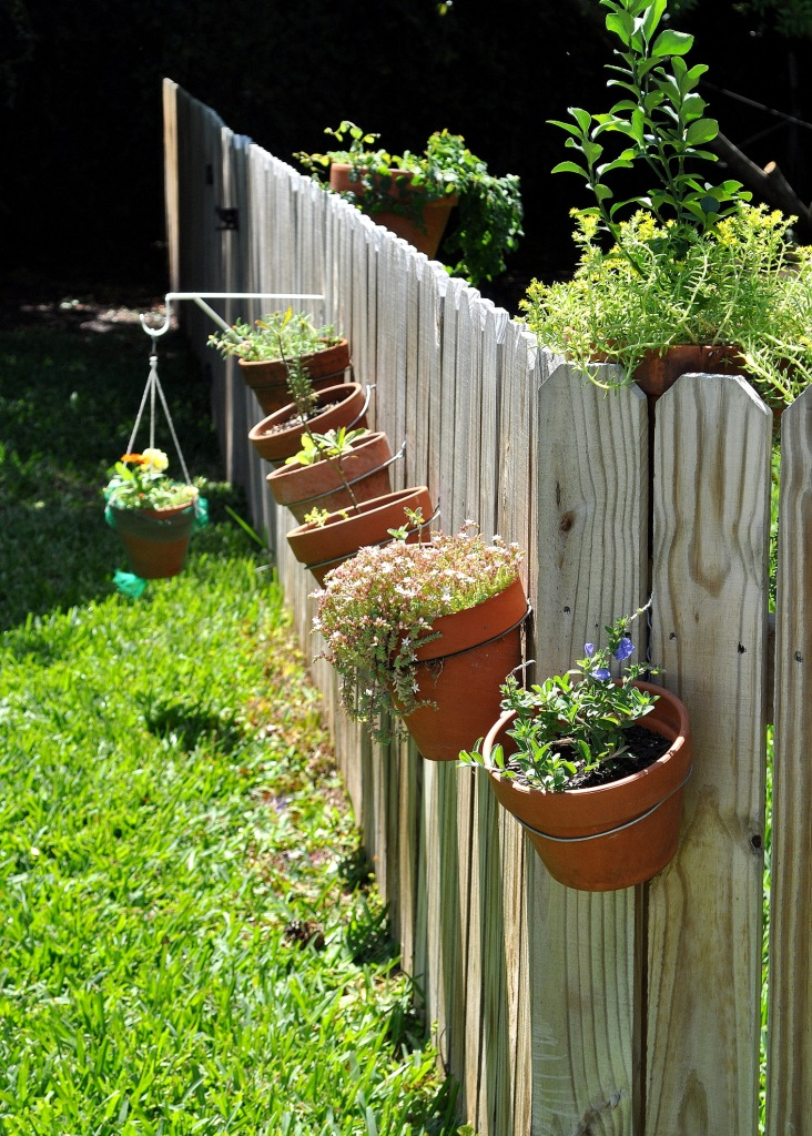 Diy hanging flowerpots home sweet homemade - Flower pots to hang on fence ...