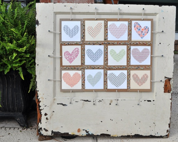 crafting a stitched loveprint sampler