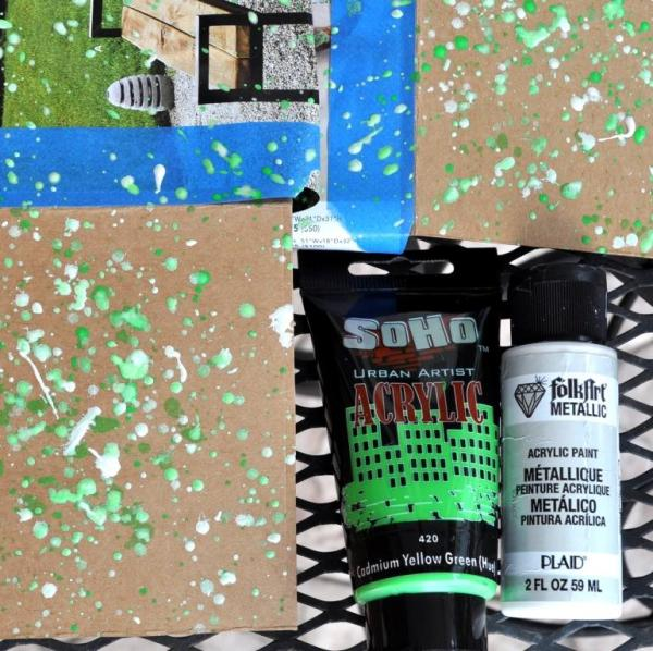 splattered paint in shades of green